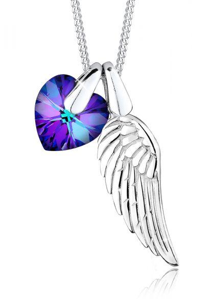 Elli Halskette Flügel Herz Schutz Kristalle 925 Silber
