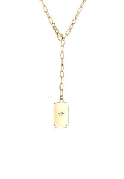 Glieder-Halskette | Zirkonia ( Weiß ) | 925 Sterling Silber vergoldet