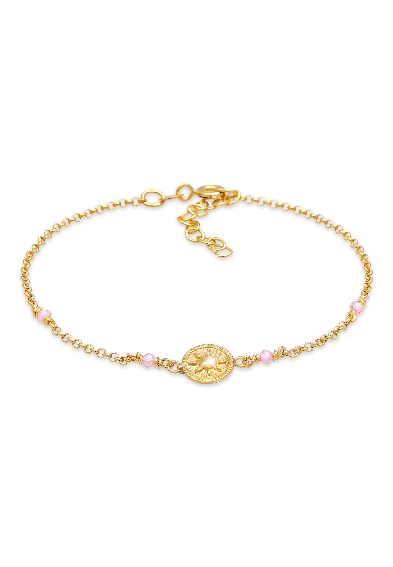 Armband   Quarz ( Rosa )   925 Sterling Silber vergoldet