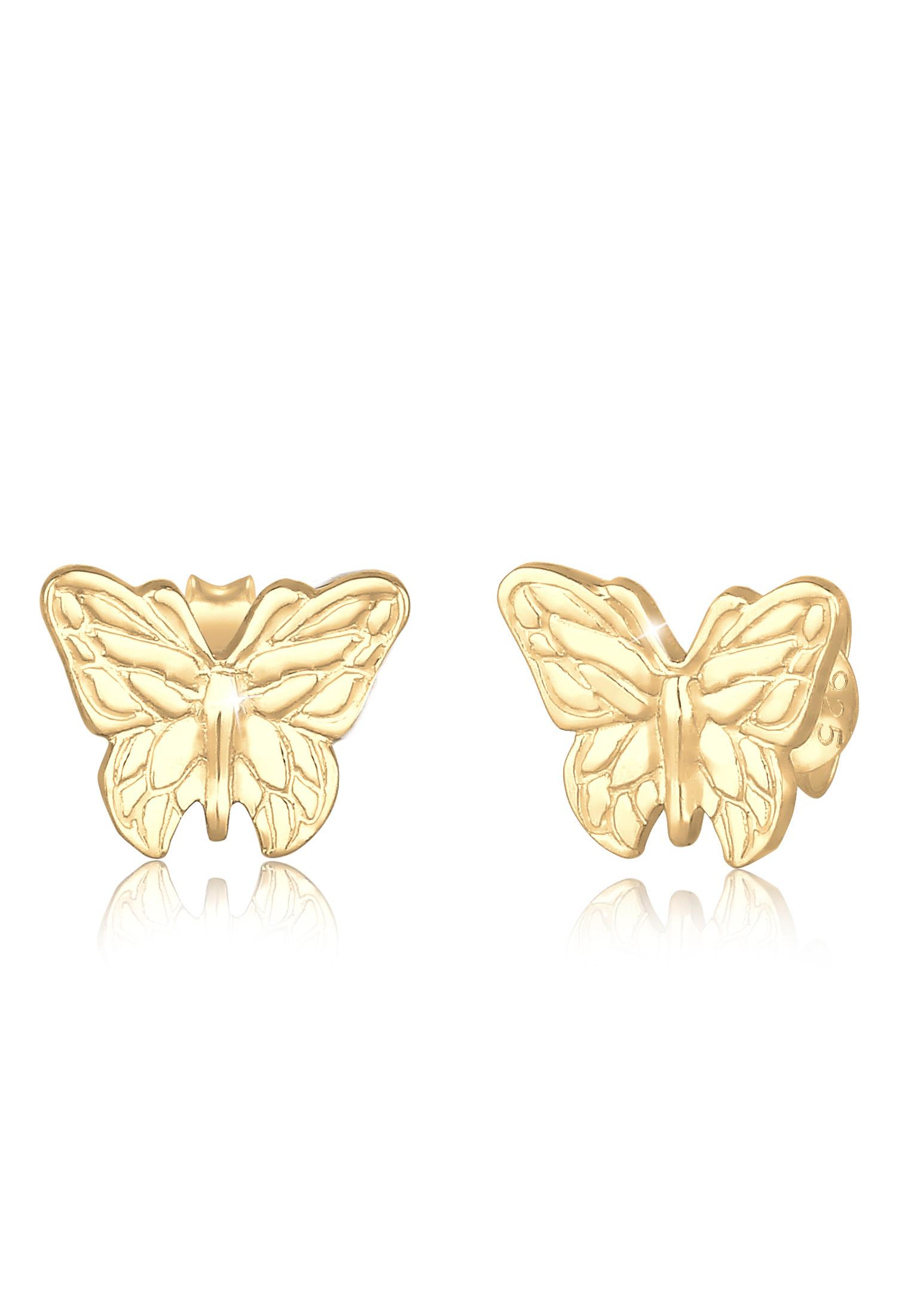 Ohrstecker Schmetterling   925 Sterling Silber vergoldet