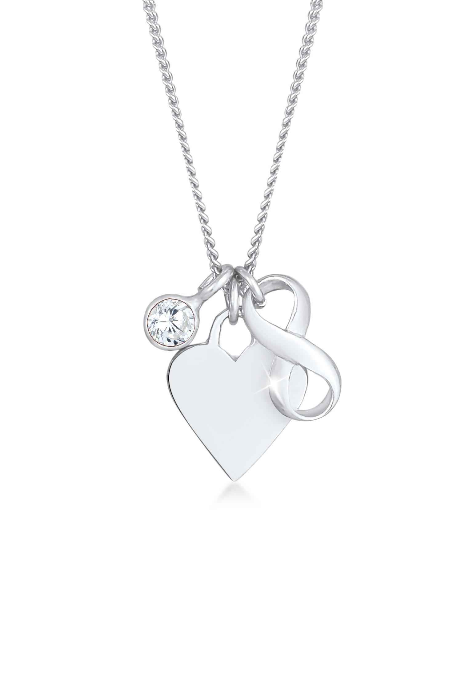 Halskette Herz   Zirkonia ( Weiß )   925er Sterling Silber