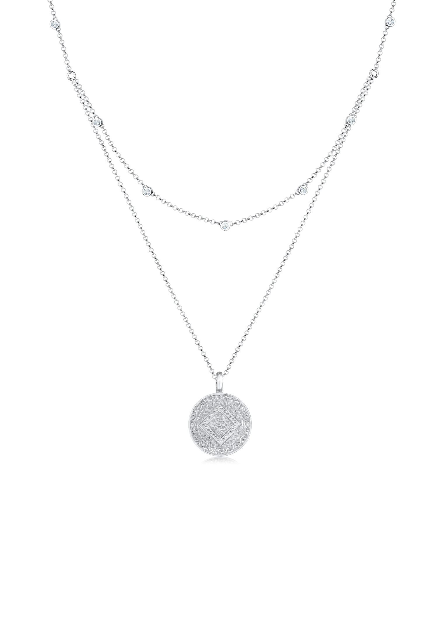 Layer-Halskette Münze   Kristall ( Weiß )   925er Sterling Silber