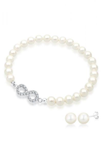 Schmuckset Infinity | Perle, Kristall ( Weiß ) | 925er Sterling Silber