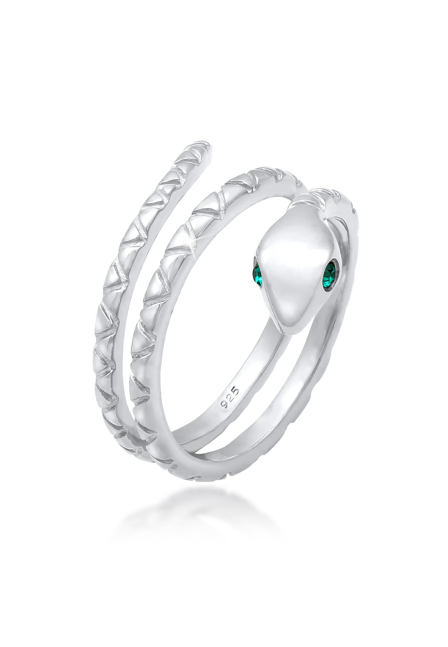 Pinky Ring Schlange   Kristall (Grün)   925 Sterling Silber