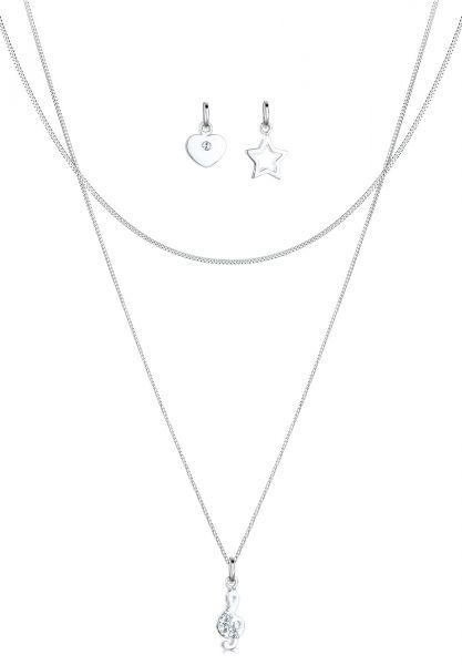 Halskettenset Herz | Kristall ( Weiß ) | 925er Sterling Silber