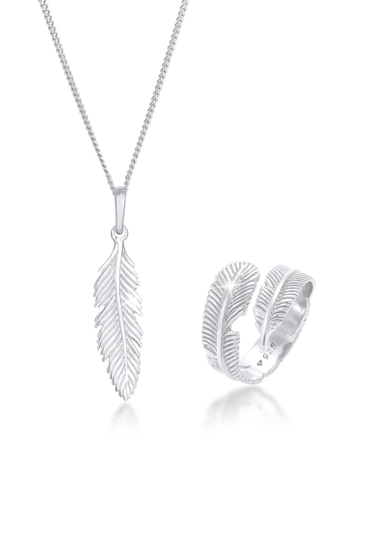 Schmuckset Feder | 925er Sterling Silber