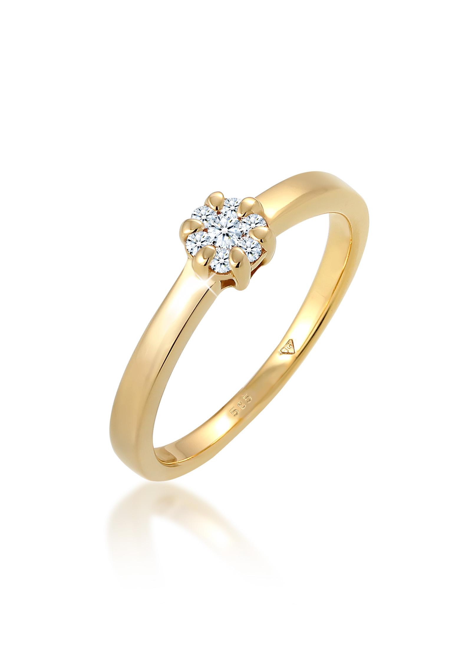 Solitär-Ring | Diamant ( Weiß, 0,12 ct ) | 585 Gelbgold