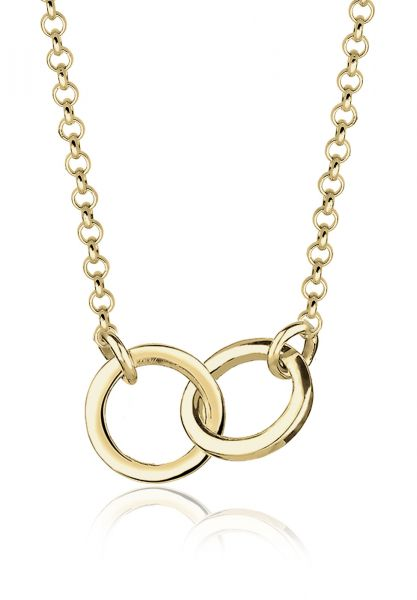 Elli PREMIUM Halskette Kreise Geo Minimal Verbundenheit 375 Gelbgold