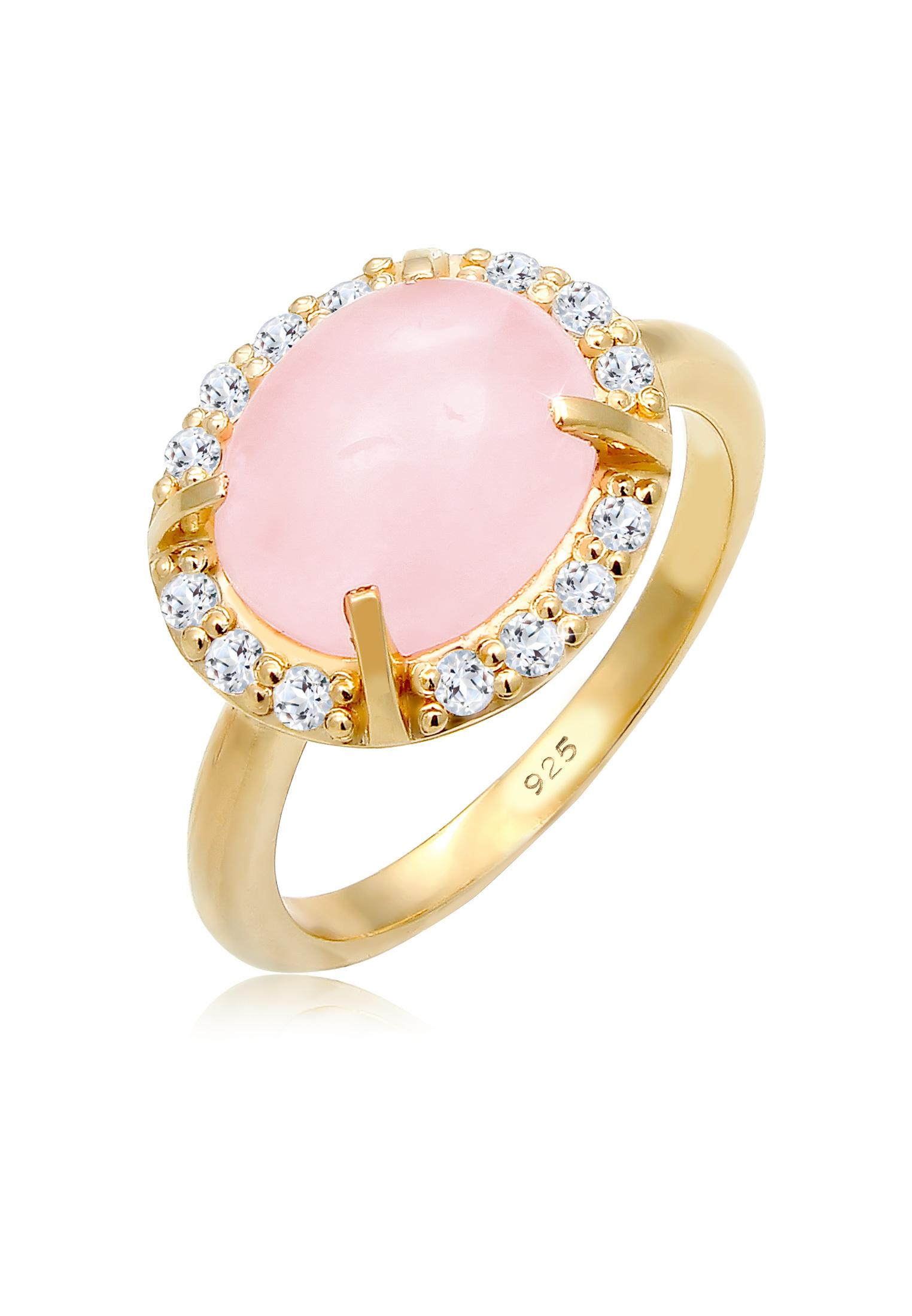 Ring   Quarz ( Rosa )   925 Sterling Silber vergoldet