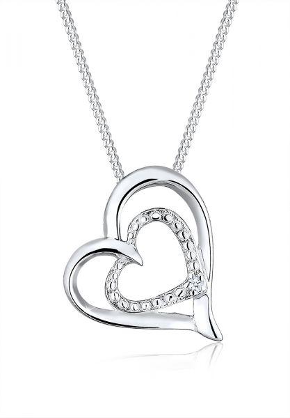 Halskette Herz | Diamant ( Weiß, 0,015 ct ) | 925er Sterling Silber