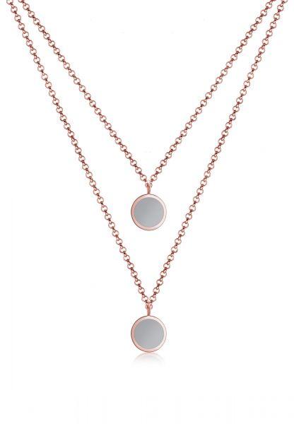 Elli Halskette Layer Kreis Geo Emaille 925er Sterling Silber