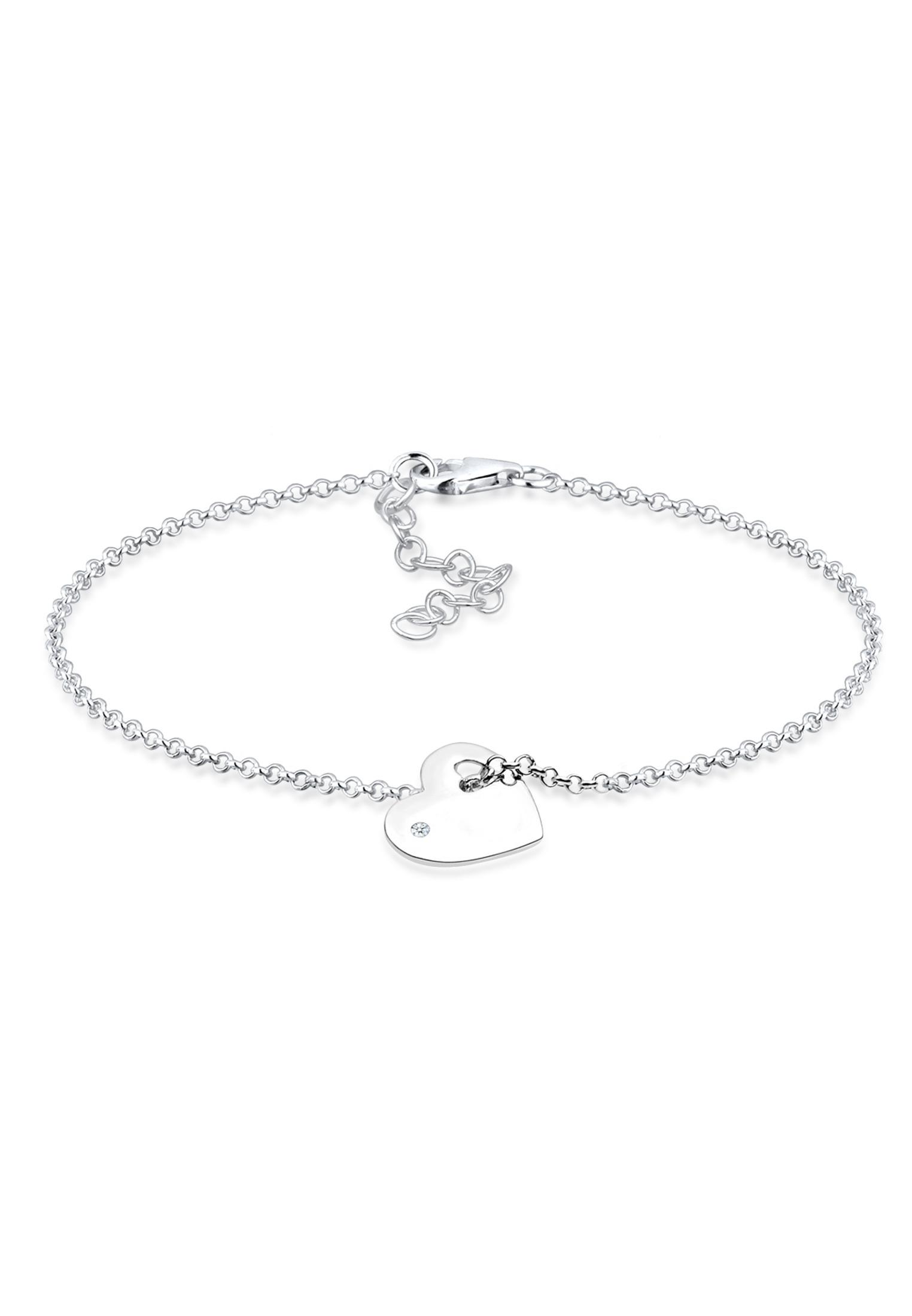 Armband Herz   Diamant ( Weiß, 0,015 ct )   925er Sterling Silber