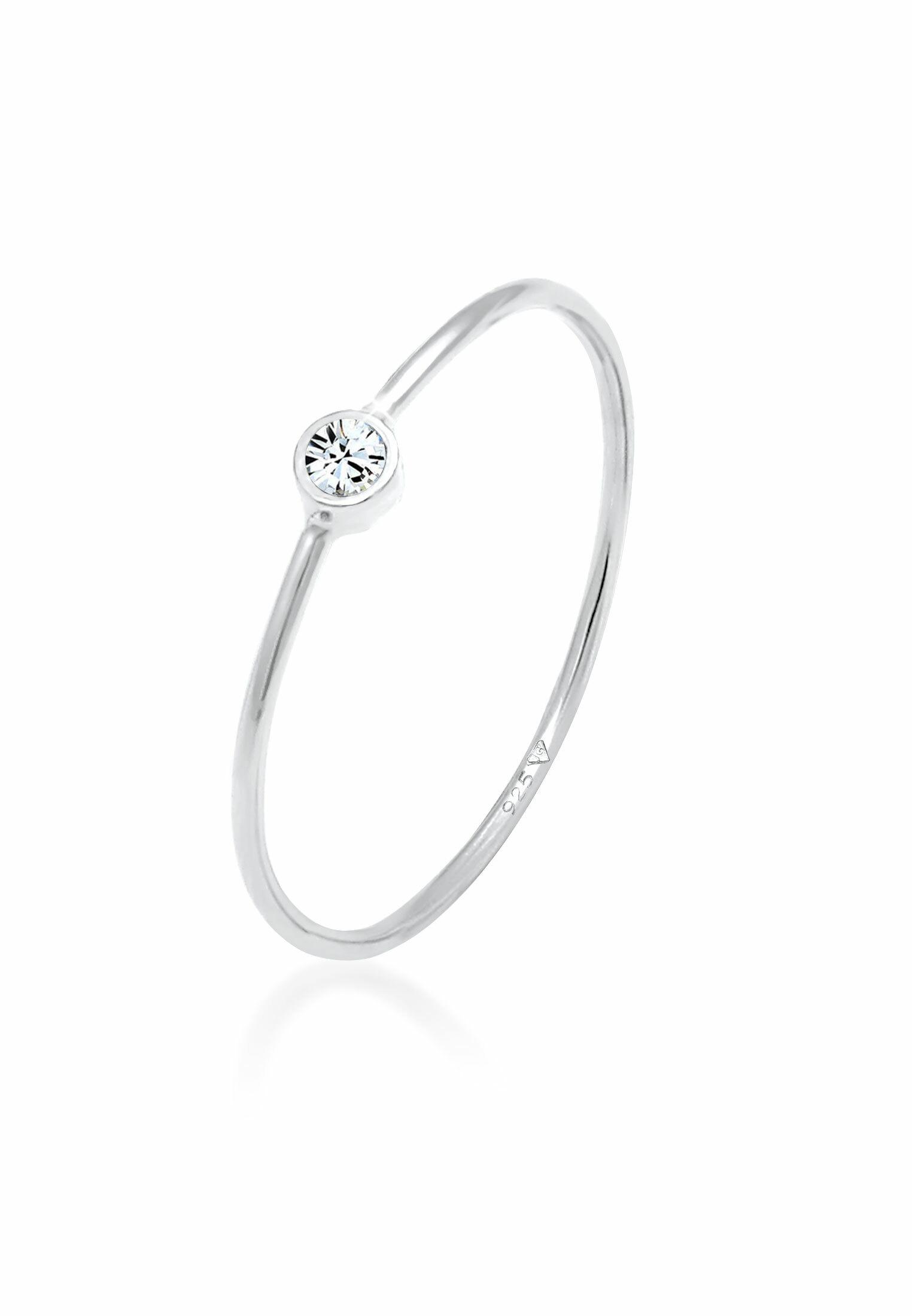 Solitär-Ring | Kristall ( Weiß ) | 925er Sterling Silber