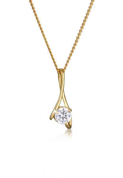 Elli PREMIUM Halskette Zirkonia 585 Gelbgold