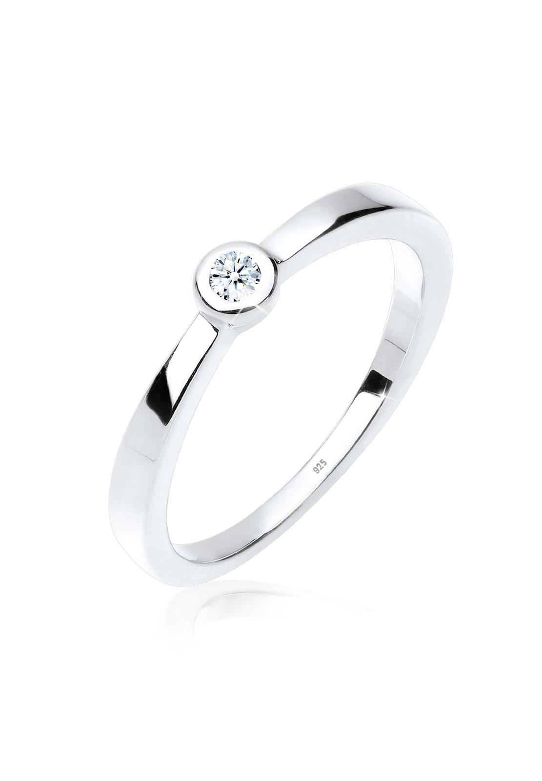 Solitär-Ring   Diamant ( Weiß, 0,03 ct )   925er Sterling Silber