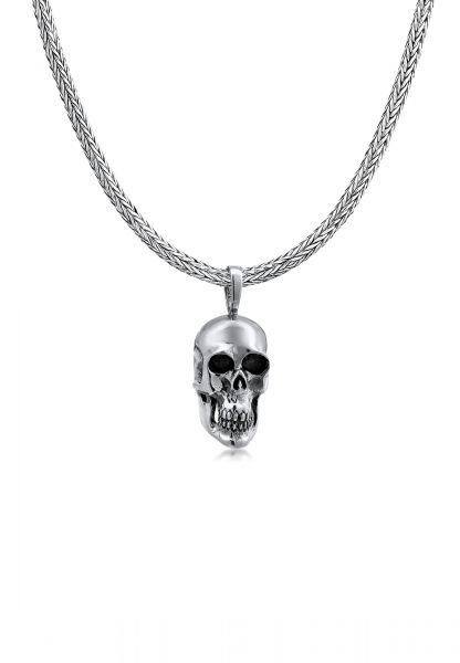 Schlangen-Halskette Totenkopf | 925er Sterling Silber