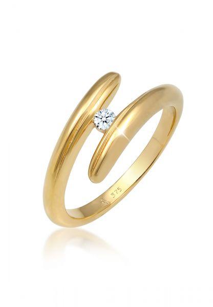 Verlobungsring | Diamant ( Weiß, 0,06 ct ) | 375 Gelbgold