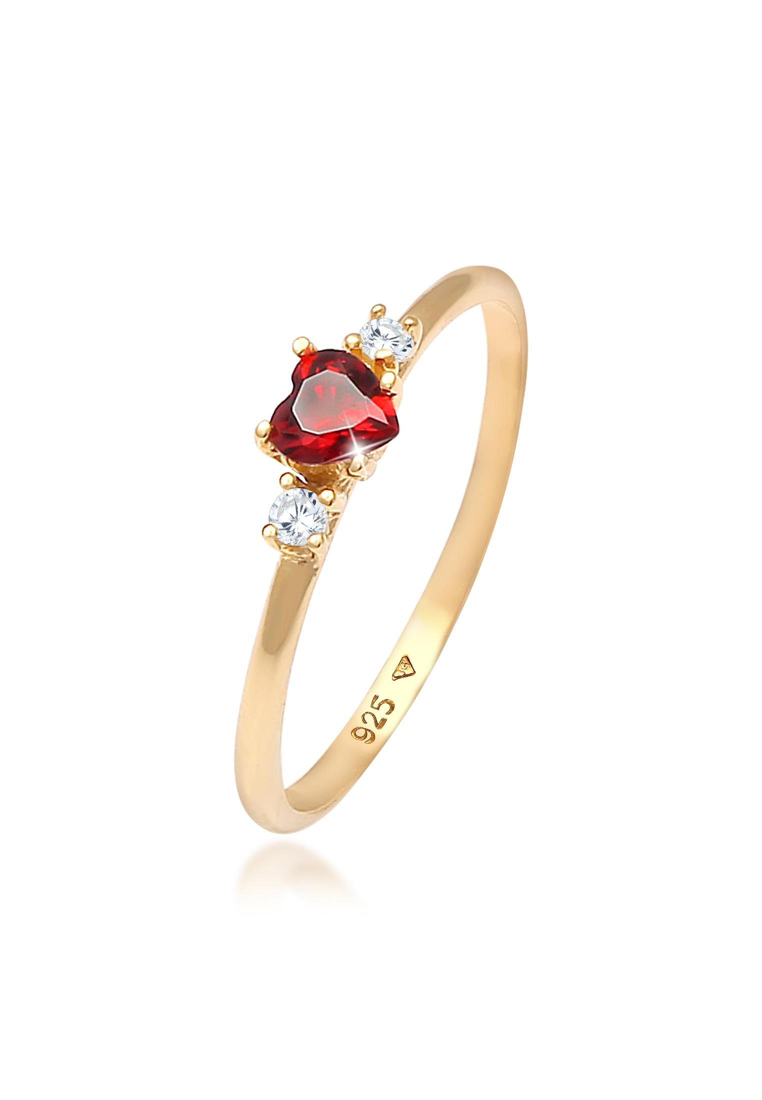 Ring Herz   Zirkonia ( Rot )   925 Sterling Silber vergoldet