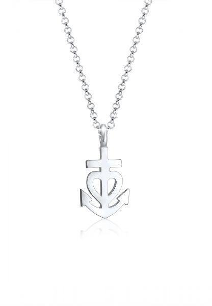Elli Halskette Erbskette Anker Herz Kreuz Anhänger 925er Silber
