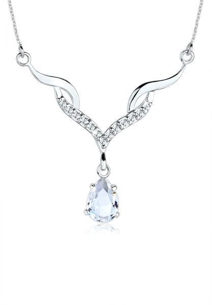 Elli Halskette Collier Tropfen Kristalle 925 Silber