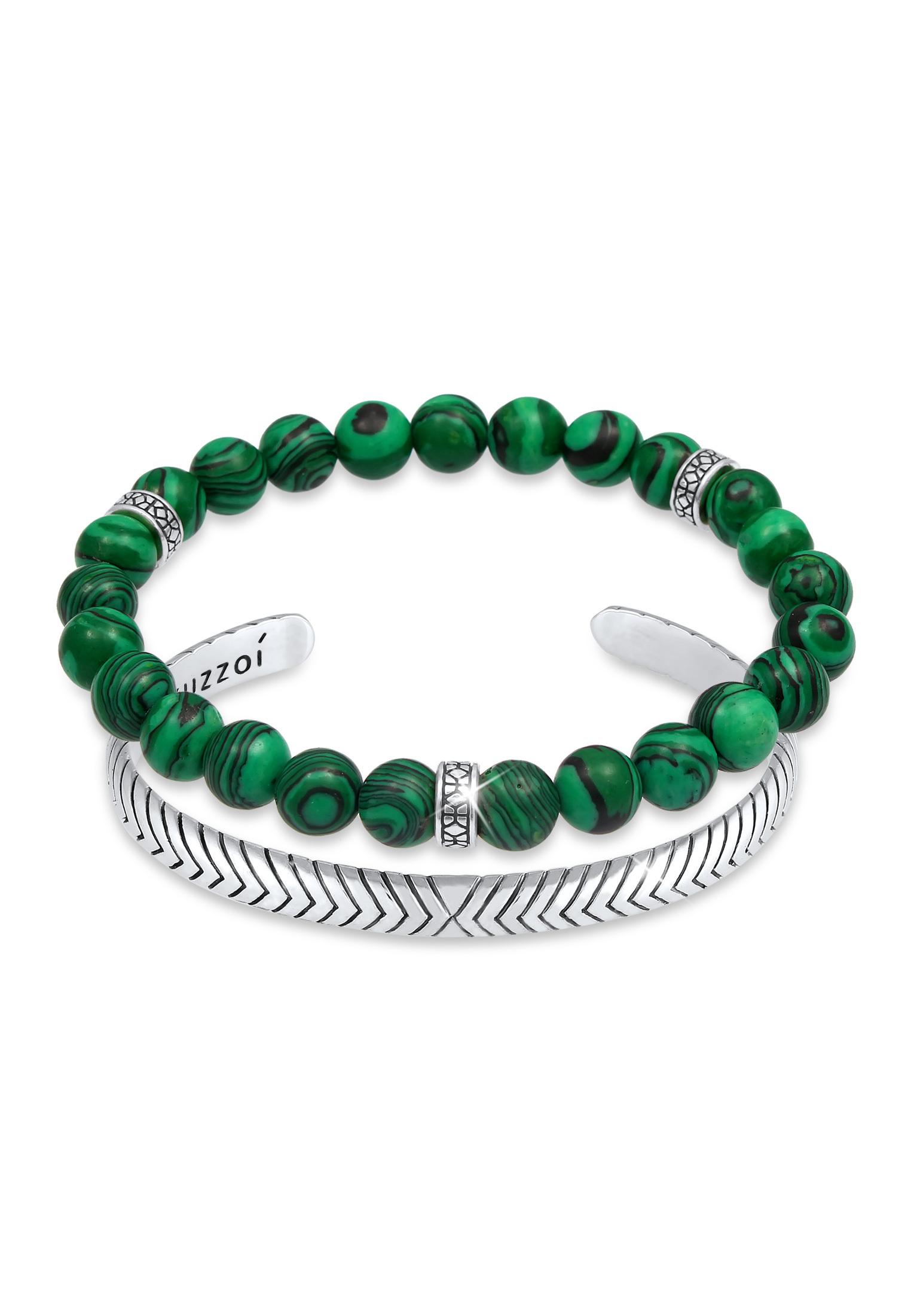 Armreif | Achat ( Grün ) | 925er Sterling Silber