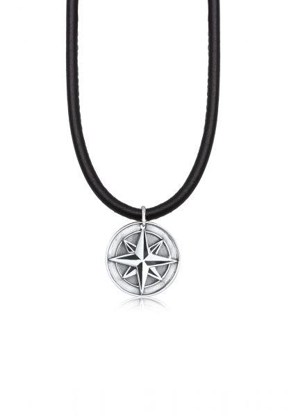 KUZZOI Halskette Herren Lederkette Kompass Anhänger 925er Silber