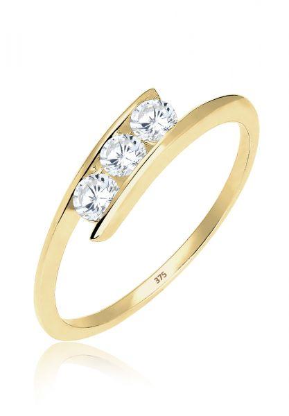Elli PREMIUM Ring 375 Gelbgold Zirkonia