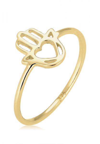 Elli PREMIUM Ring Hamsa Hand Symbol 375 Gelbgold