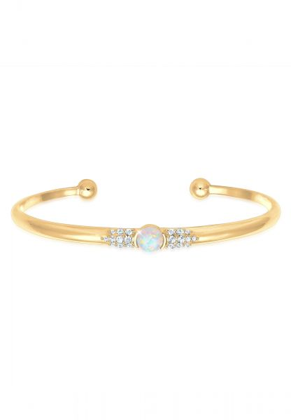 Elli PREMIUM Armband Armreif Offen Opal Kristall 925 Silber