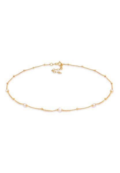 Elli Halskette Choker Kugel Süßwasserperlen 925 Silber vergoldet