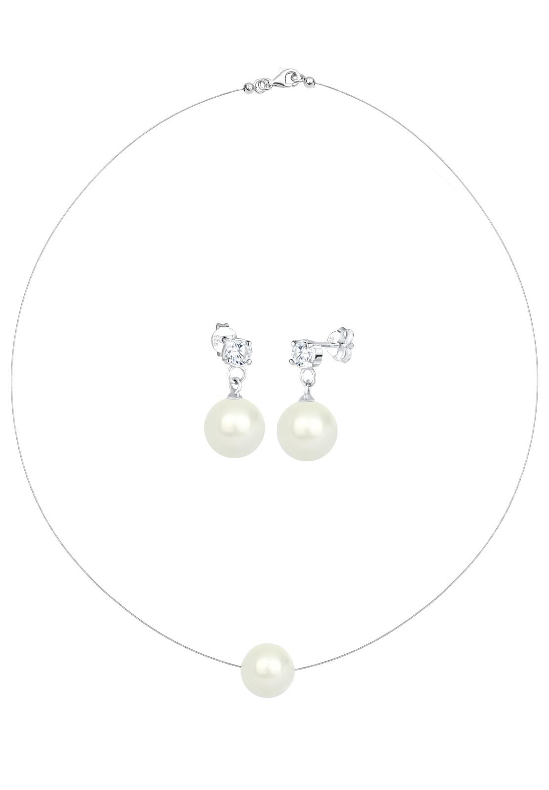 Schmuckset   Perle, Zirkonia ( Weiß )   925er Sterling Silber
