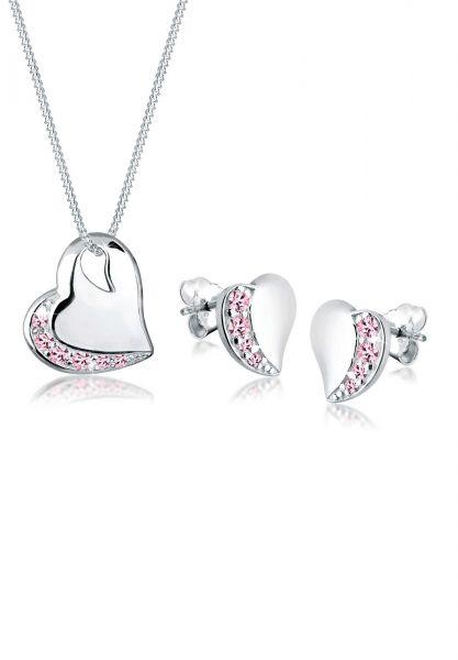 Schmuckset Herz | Kristall ( Rosa ) | 925er Sterling Silber