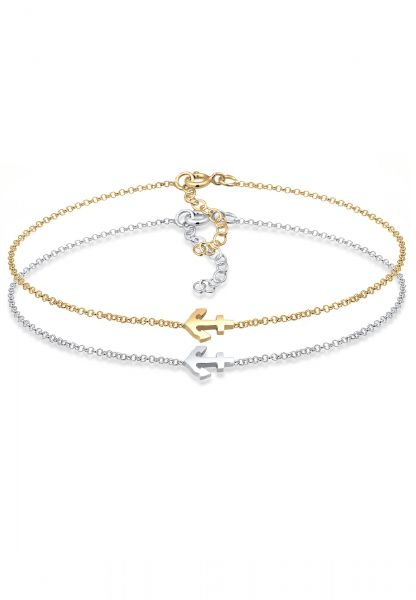 Elli Armband Set Anker Paar Freundschaft Bi-Color 925er Silber
