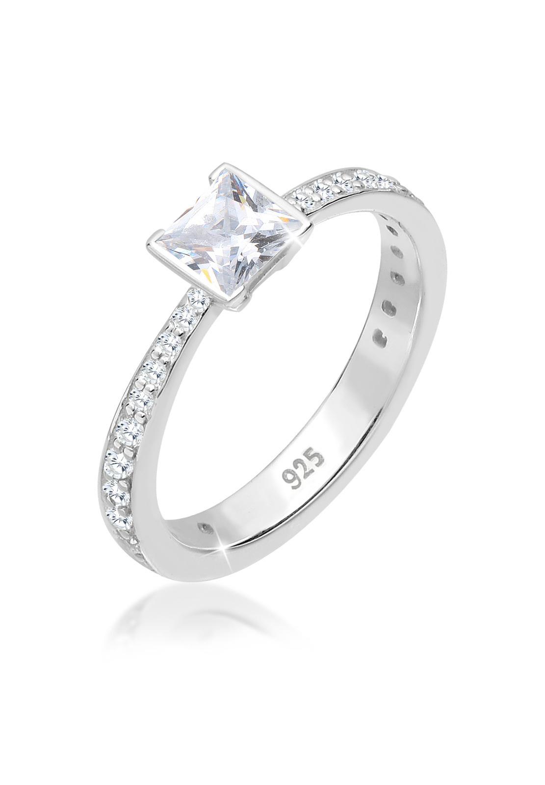 Solitär-Ring   Zirkonia ( Weiß )   925er Sterling Silber