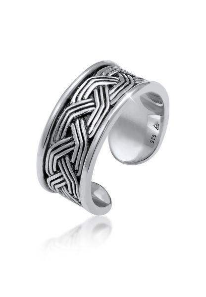 KUZZOI Ring Herren Bandring Ornament Design Offen 925 Silber
