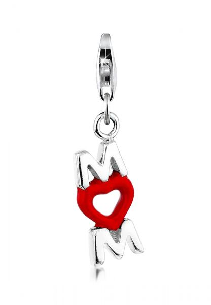 Nenalina Charm Mom-Anhänger Herz Emaille Muttertag 925er Silber