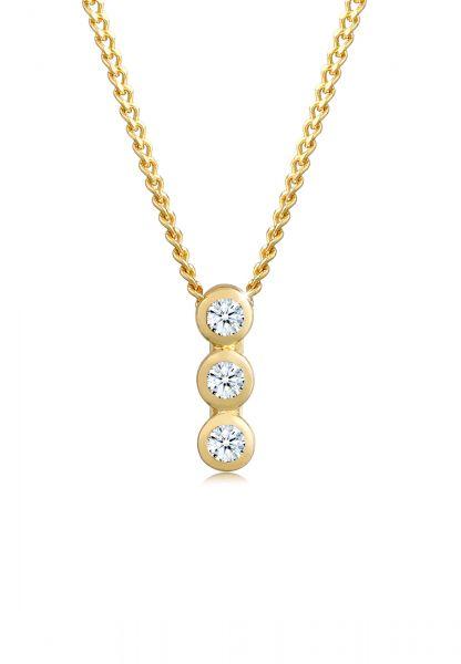 DIAMORE Halskette Kreis Geo Trio Diamant (0.045 ct.) 585 Gelbgold