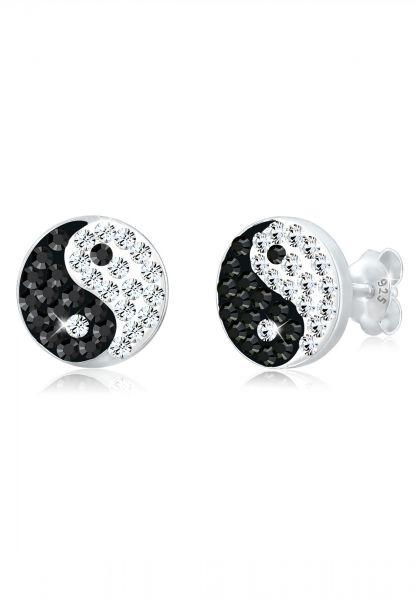 Ohrstecker Yin & Yang | Kristall ( Schwarz ) | 925er Sterling Silber