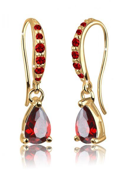 Ohrhänger Tropfen   Zirkonia ( Rot )   925 Sterling Silber vergoldet