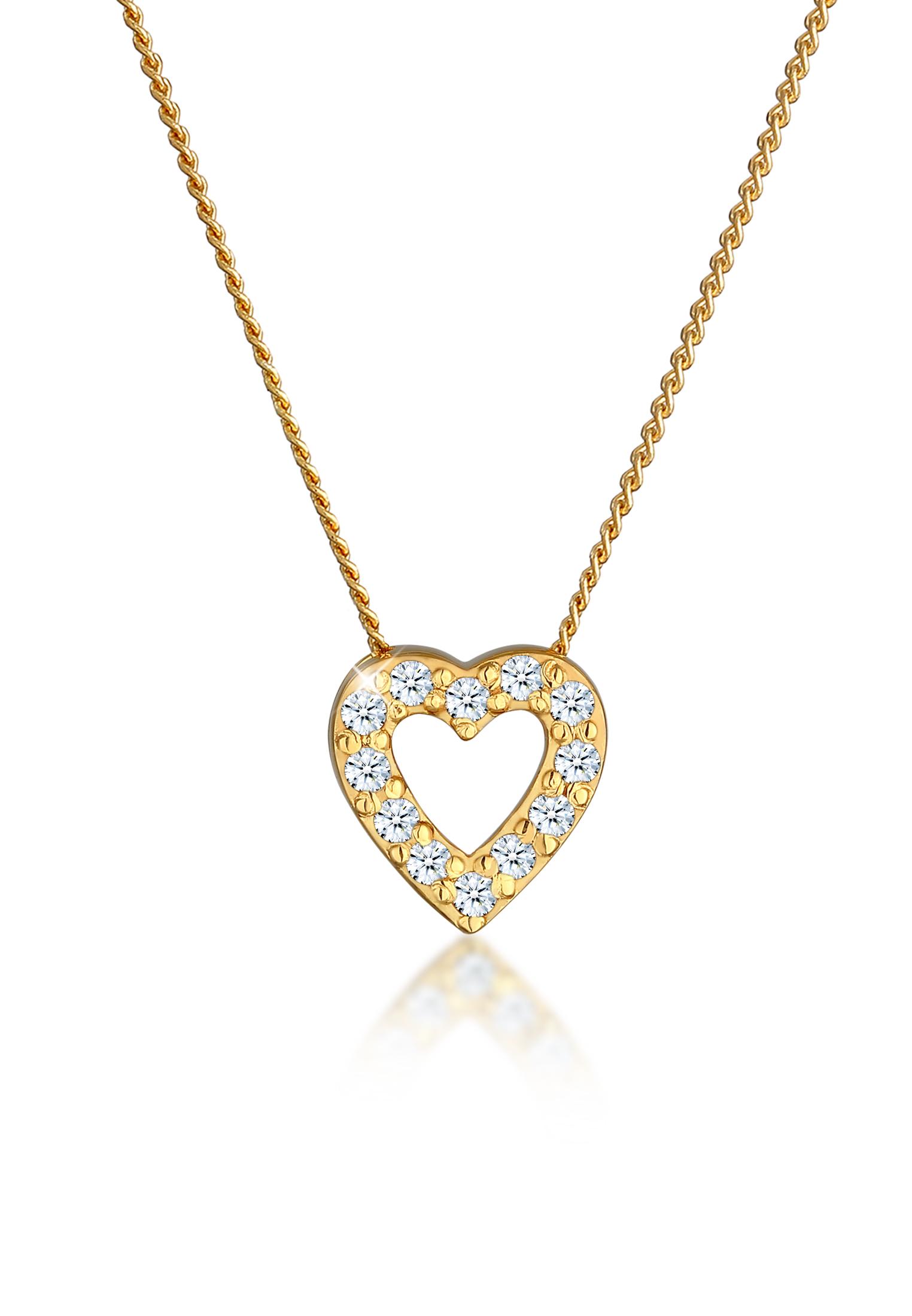 Halskette Herz   Diamant ( Weiß, 0,18 ct )   585 Gelbgold