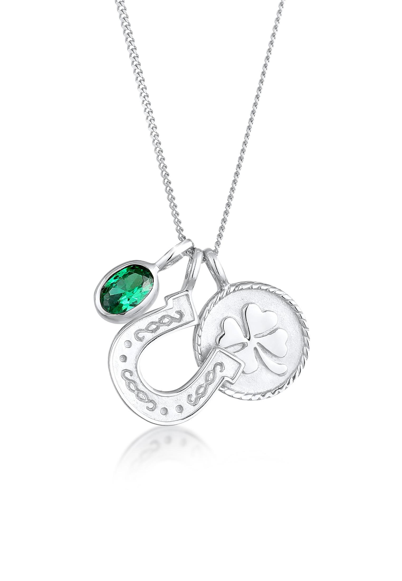 Halskette Talisman | Zirkonia (grün) | 925er Sterling Silber