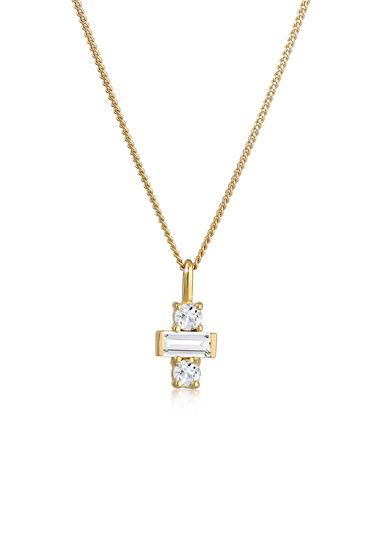 Halskette | Topas ( Weiß ) | 925 Sterling Silber vergoldet