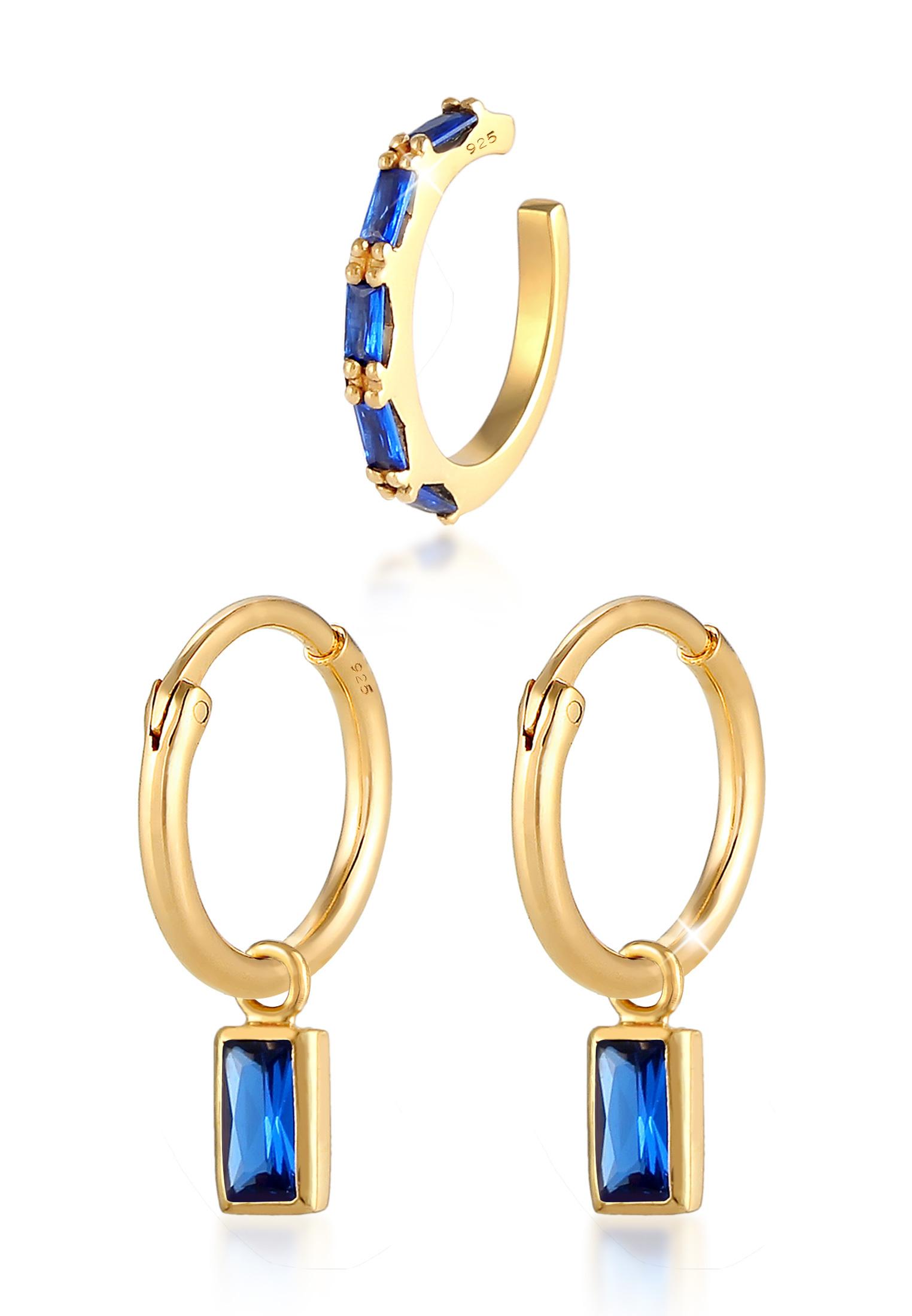 Ohrringset   Saphir ( Blau )   925 Sterling Silber vergoldet