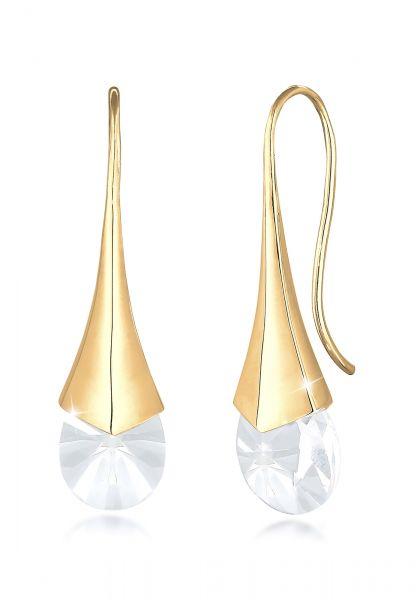 Ohrhänger| Kristall ( Weiß ) | 925 Sterling Silber vergoldet