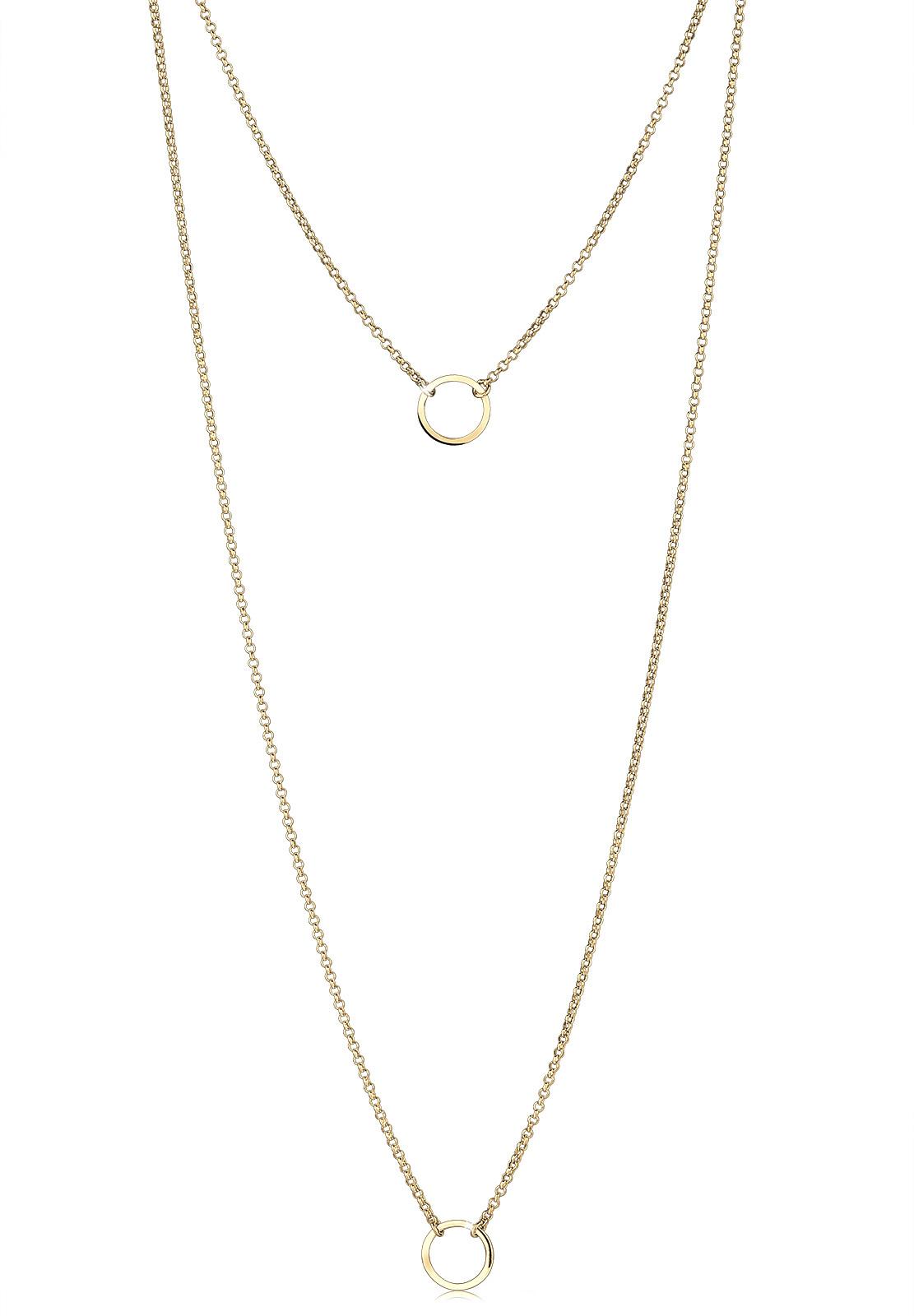 Lange Halskette Geo | 925 Sterling Silber vergoldet