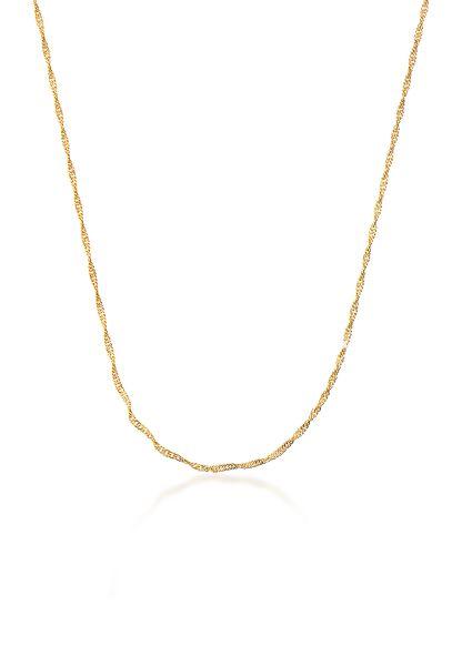 Elli PREMIUM Halskette Singapur Basic Gedrehte Kette 333 Gelbgold