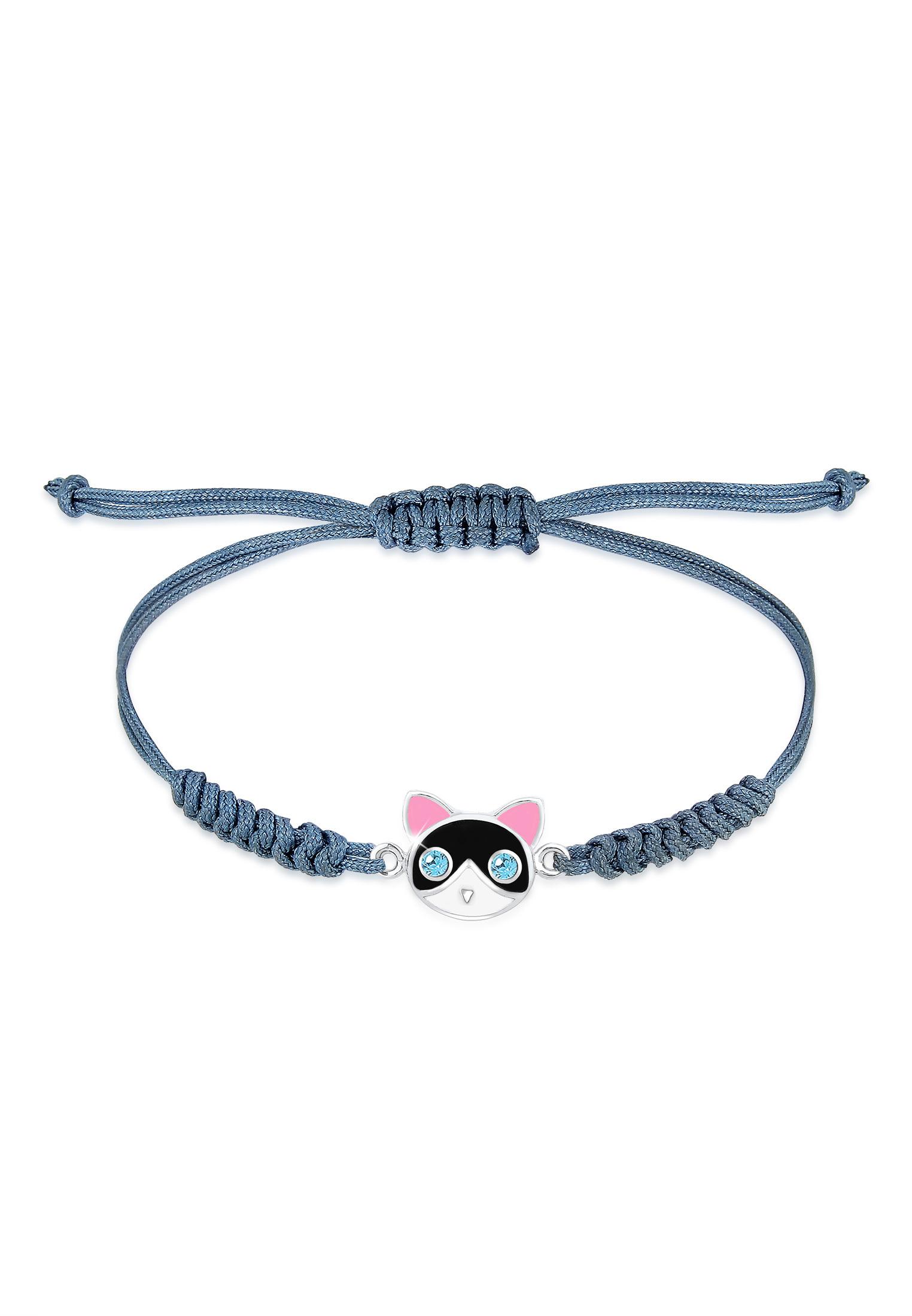 Armband Katze | Kristall ( Blau ) | 925er Sterling Silber