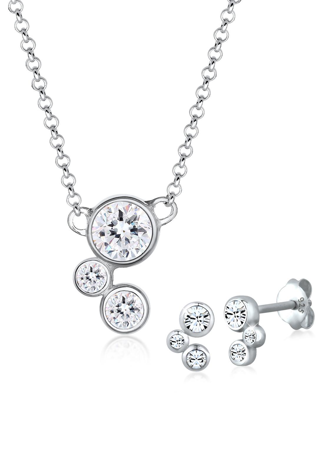 Schmuckset   Kristall ( Weiß )   925er Sterling Silber