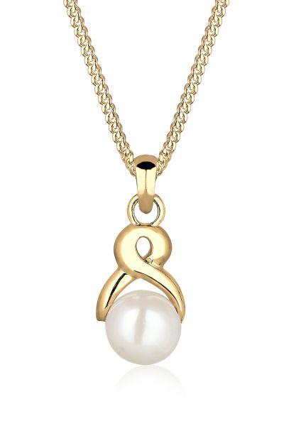 Elli PREMIUM Halskette Infinity Süßwasserzuchtperle 585 Gelbgold