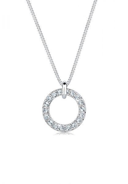 Elli Halskette Kreis Kreis Kristalle 925 Silber